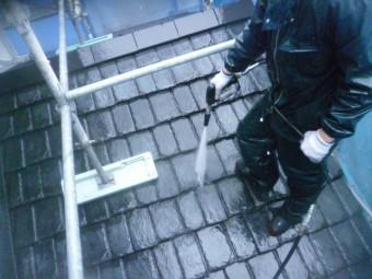 和歌山市善明寺のセメント瓦屋根洗浄