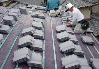 岸和田市天神山町の淡路産特上和瓦の葺き替え