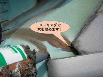 泉南市樽井の谷樋の穴にコーキング充填