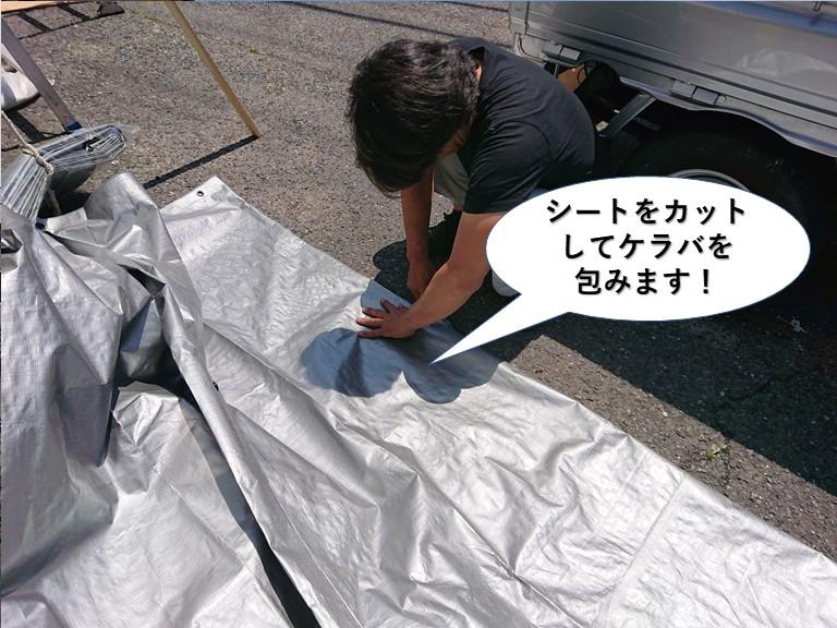 熊取町で使用するシートをカットしてケラバを包みます