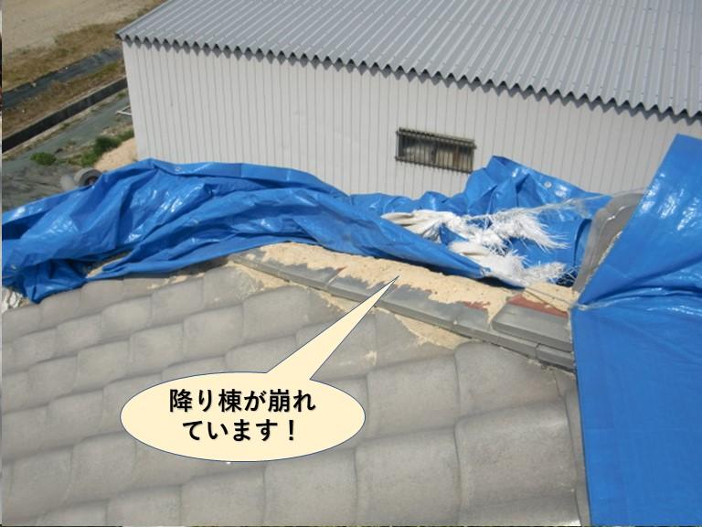 岸和田市の降り棟が崩れています