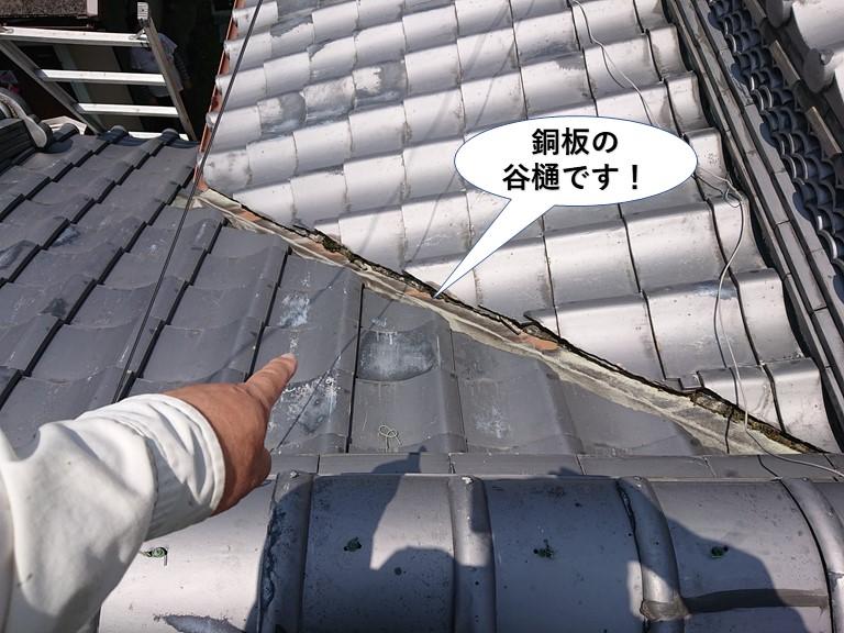 貝塚市の銅板の谷樋です