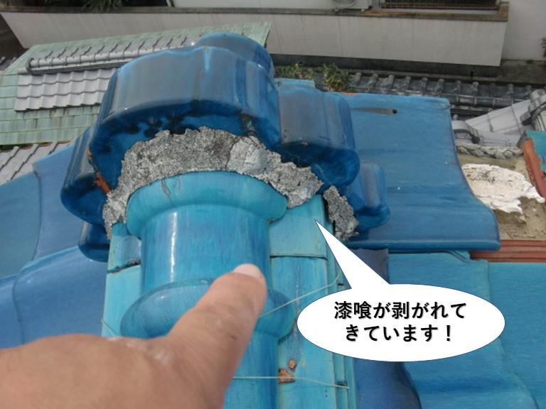 岸和田市の漆喰が剥がれてきています