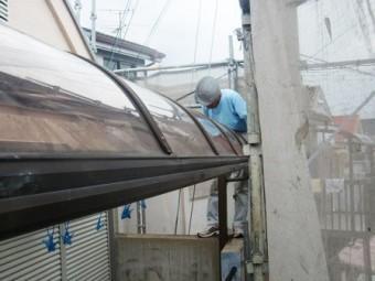 岸和田市極楽寺町の外壁と屋根塗装の足場撤去とテラス屋根交換