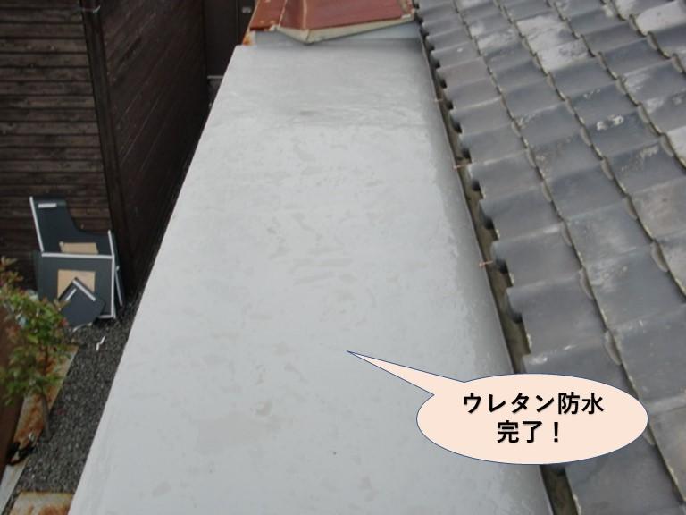 岸和田市の陸屋根のウレタン防水完了