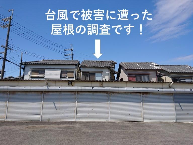 泉大津市の台風で被害に遭った屋根の調査