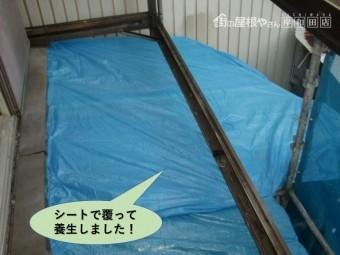 岸和田市のベランダの下の屋根をシートで覆って養生しました