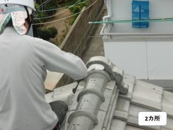 岸和田市の鬼瓦の漆喰復旧2カ所目