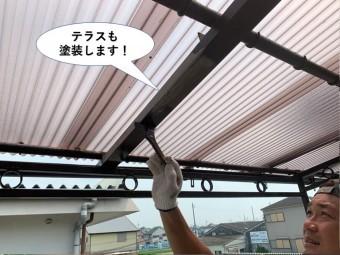 忠岡町のテラスも塗装します