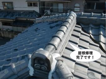 忠岡町で降り棟の瓦が飛散し、テラスやカーポートの波板も修理したお客様の声