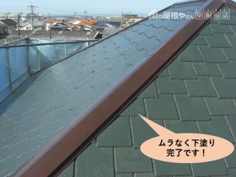 阪南市の屋根・ムラなく下塗り完了です