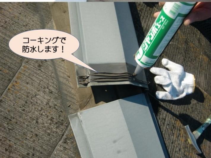 岸和田市紙屋町の棟板金にコーキング打設