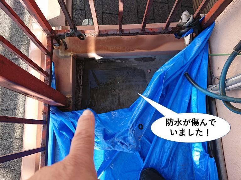阪南市のベランダの防水が傷んでいました