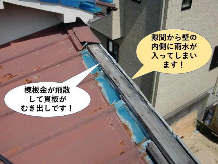 岸和田市の棟板金が飛散して隙間が空いています
