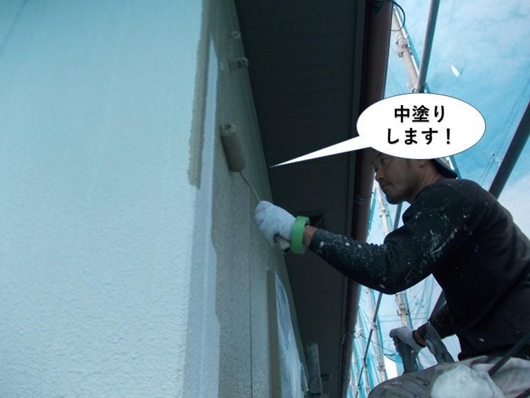 岸和田市の外壁を中塗り