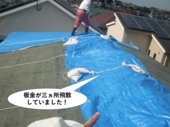 和泉市の板金が3か所飛散していました