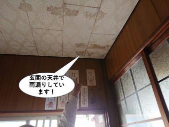 貝塚市の玄関の天井で雨漏りしています