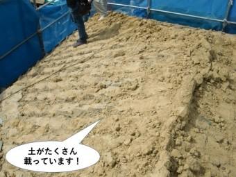 岸和田市の屋根の上に葺き土がたくさん載っています