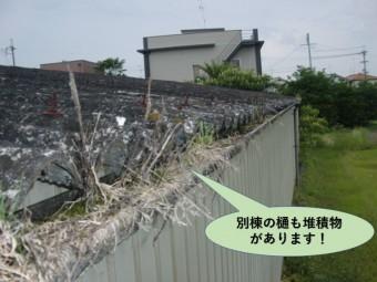 岸和田市の貸しガレージの別棟の樋にも堆積物があります!