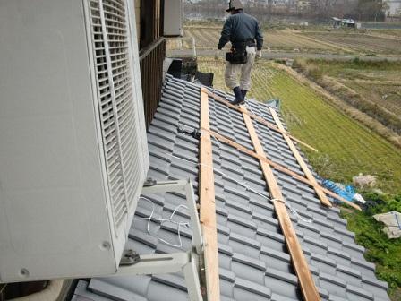 岸和田市東大路町の淡路産特上和瓦の屋根の葺き替え工事6日目