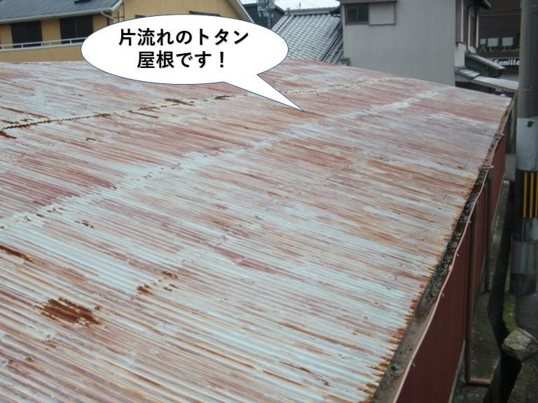 阪南市の片流れのトタン屋根です