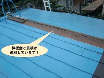 岸和田市の棟板金と貫板が飛散