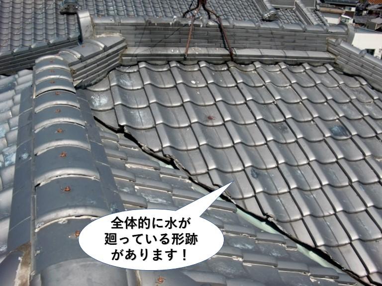 岸和田市の屋根の全体的に水が廻っている形跡があります