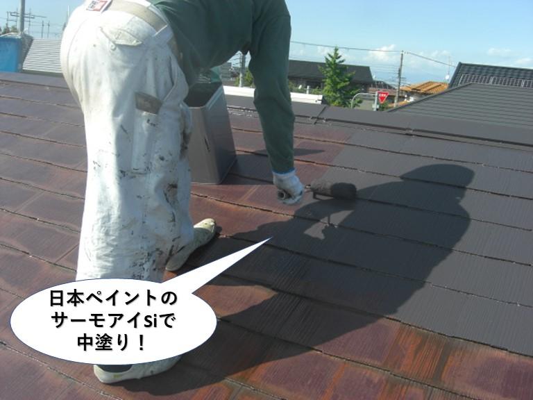 和泉市の屋根を日本ペイントのサーモアイSiで中塗り