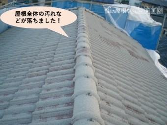 岸和田市のセメント瓦の屋根洗浄完了
