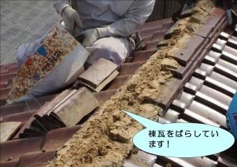 岸和田市作才町の棟瓦をばらしています!