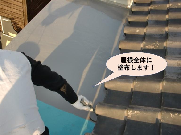 岸和田市の陸屋根全体にトップコート塗布します