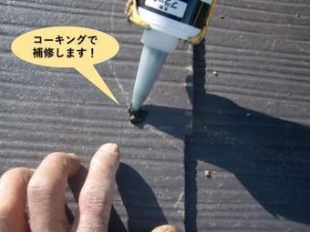 岸和田市のスレートの穴をコーキングで補修します