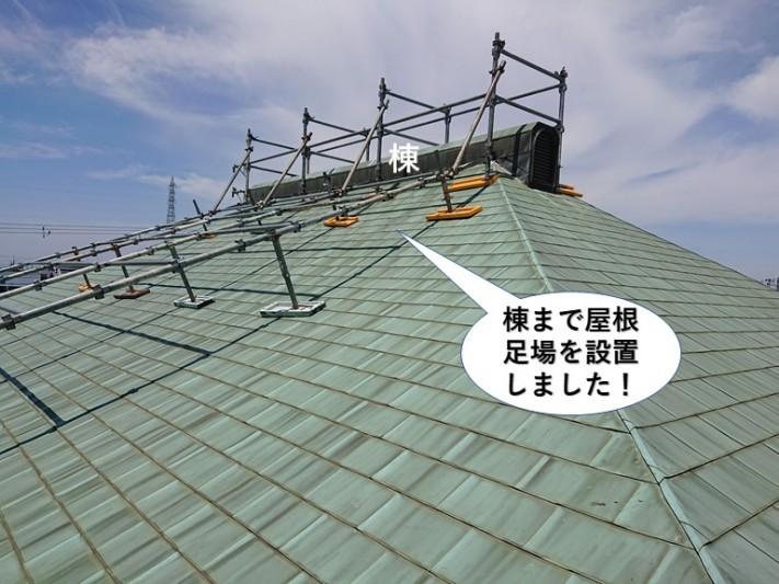 岸和田市の棟まで屋根足場を設置しました