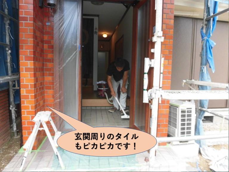 岸和田市の玄関周りのタイルもピカピカです