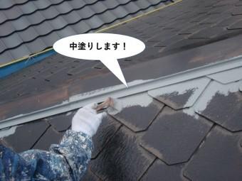 和泉市の屋根の中塗り