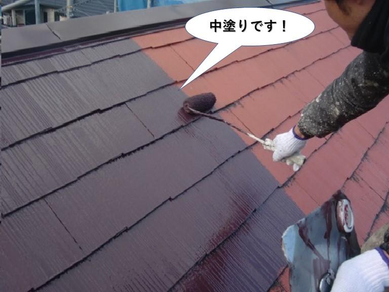 泉佐野市の屋根の中塗り