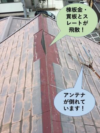 和泉市の棟板金などが飛散