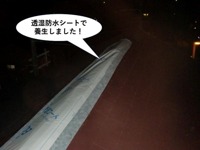 岸和田市の屋根を透湿防水シートで養生しました