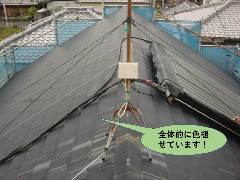 阪南市の屋根が全体的に色褪せています