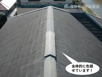 泉大津市の屋根が全体的に色褪せています