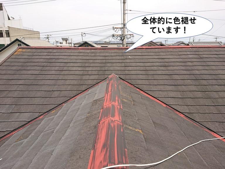 岬町の屋根が全体的に色褪せています