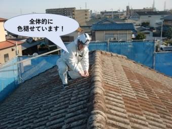 岸和田市の屋根が全体的に色褪せています