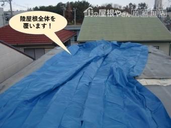 貝塚市の陸屋根全体を覆います