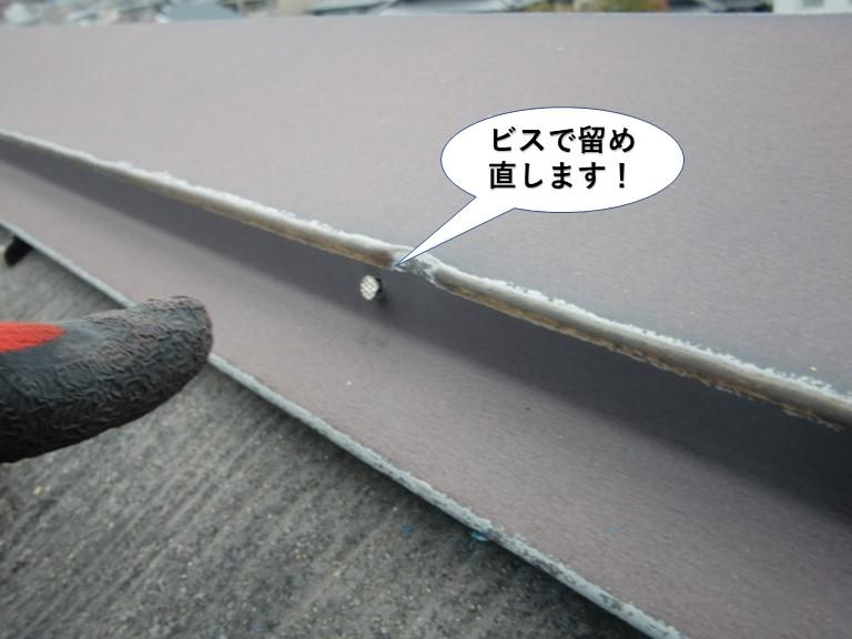泉大津市の棟板金をビスで留め直します
