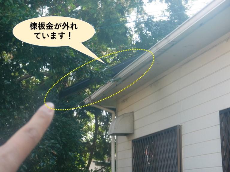 和泉市の棟板金が外れています
