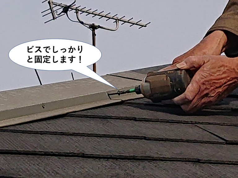 忠岡町の屋根の板金を固定している釘をビスでしっかりと固定