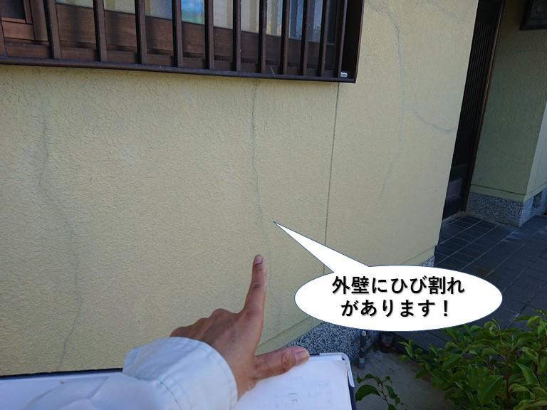 泉大津市の外壁にひび割れが発生