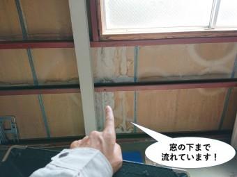 熊取町の倉庫の窓の下まで流れています