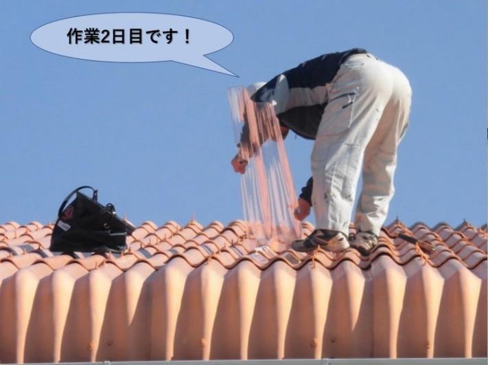 泉佐野市の工場の雨漏り修理・作業2日目です