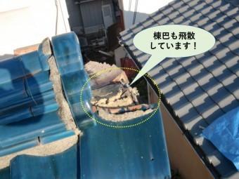 岸和田市の棟巴も飛散